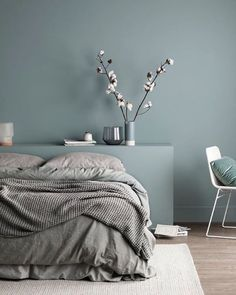 Who wouldn't love a quiet afternoon snooze in this super cosy bed? The use of different textures paired with our Soft Chalk finish just oozes calm energy, the perfect tone for any bedroom. Colour used is Water Green – Soft Chalk Bedroom Wall Colors, Bedroom Color Schemes, Bedroom Green, Room Ideas Bedroom, Home Bedroom, Bedroom Decor, Calming Bedroom Colors, Colourful Bedroom, Master Bedroom
