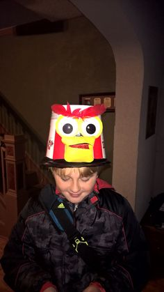 Made this chicken hat out of a KFC bucket for crazy hat day at my kids  school 8d30e6dc77fb