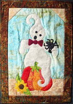 """Do you know how to scare a ghost? Now you do! This quilt pattern is fast, fun and easy. Finished Size: 20"""" x 29"""" Skill Level: Advanced Beginner Halloween Quilts, Halloween Patterns, Halloween Projects, Fall Halloween, Pumpkin Quilt Pattern, Christmas Quilt Patterns, Fall Quilts, Wool Applique, Quilting Projects"""