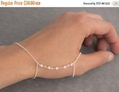 ✶✶ 8% OFF (4 days only) ✶✶ Sterling Silver slave bracelet- finger to wrist bracelet- Bracelet ring- Hand Harness- Ring bracelet- Finger bracelet-