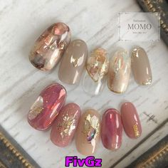 Pin by あろん on ネイル in 2019 Flower Nail Designs, Ombre Nail Designs, Cute Nail Designs, Minimalist Nails, Opal Nails, Pink Nails, Japan Nail Art, Fingernails Painted, Cute Toe Nails