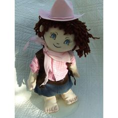 """Cuddly 18"""" Rag Doll - Cowgirl Outfit Cowgirl Outfits, Rag Dolls, Stuffed Animals, Harajuku, 18th, Crochet Hats, Construction, Fabric Dolls, Knitting Hats"""