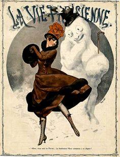 Dancing with a Snowman ~ La Vie Parisienne Cover Art byChéri Hérouard