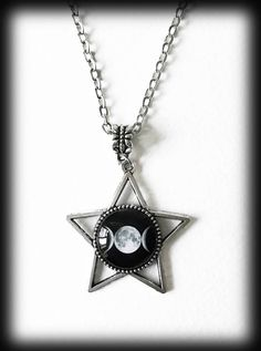 Triple Moon Star Necklace, Goddess Moon Pendant, Witch Wicca Pagan Pendant, Alternative Jewelry, Gothic Jewelry, Celestial Moon Star Jewelry by WhisperToTheMoon on Etsy