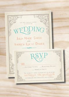 ELEGANT SCROLL Vintage Rustic Wedding Invitation/Response Card - 100 Professionally Printed Invitations & Response Cards