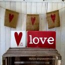 Super cute and easy Valentine love blocks! ♥ Cute burlap banner too! My Funny Valentine, Valentine Day Love, Valentine Day Crafts, Holiday Crafts, Holiday Fun, Valentine Banner, Valentine Ideas, Holiday Parties, Holiday Ideas