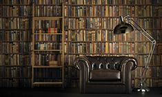 Fancy an instant New-York style exposed brick wall, elegant Georgian panelling or a library of antique books? Then cheat Book Wallpaper, Wallpaper Online, Wallpaper Ideas, Library Wall, Mini Library, Library Ideas, Exposed Brick Walls, Book Nooks, Designer Wallpaper