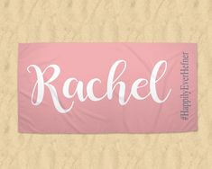 Personalized Beach Towel, Name Towel, Monogram Towel, Bridesmaid Gift, Wedding Hashtag, Girls Weekend, Family Cruise, Bachelorette Party by TheBeeBoutiqueNC on Etsy