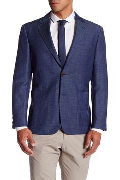 Navy Two Button Notch Lapel Wool-Linen Blend Sport Coat