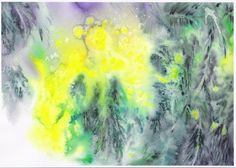 impression mimosa (Painting),  45x55 cm par Mijo Chambon aquarelle dans le mouillé