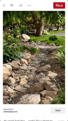 the line of dark rocks creates a very serene gravel garden/dry creek.I am going to be putting in a dry creek bed in my backyard at the end off my down spout where all of the mulch always washes away.I already have all of the rock to put in place. Landscaping With Rocks, Front Yard Landscaping, Landscaping Ideas, Dry Riverbed Landscaping, Landscaping Software, Country Landscaping, Landscaping Edging, Landscaping Melbourne, Privacy Landscaping