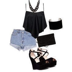 A fashion look from February 2015 featuring Boohoo tops, Levi's shorts and MANGO clutches. Browse and shop related looks.