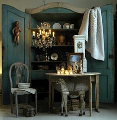 antique, blanket, cabinet, candles, chair, chandelier