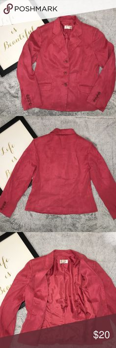 Talbots Petites Pink Hue Blazer Suit Jacket Sz 8P Great condition. Interior polyester lining, exterior 100%polyester, feels like suede. Decorative front pockets. Perfect to mix and match with slacks and jeans. Talbots Jackets & Coats Blazers
