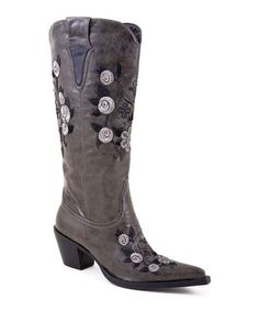 Take a look at this Gray Embroidered Boot by Roper on #zulily today!