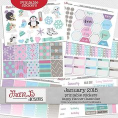 January 2018 Printable Planner Stickers by FranB Designs - https://www.etsy.com/listing/584142477/january-2018-printable-planner-stickers