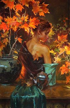 """October Glow"" -  Enhanced giclee with silk screen varnishes.  by artist   Daniel Gerhartz"