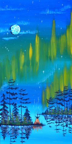 Northern Lights by William Monague Native Canadian, Canadian Art, Native American Paintings, Native American Artists, Claudia Tremblay, American Indian Art, American Women, American Indians, American History