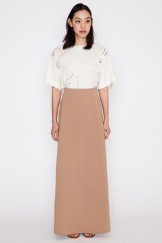 Kaarem - Camel Waterfall Deep Pleated Maxi Skirt SS16