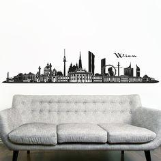 Wandkings Skyline Wandaufkleber Wandtattoo - 125 x 30 cm in schwarz - Deine Stadt wählbar - Wien: Amazon.de: Baumarkt