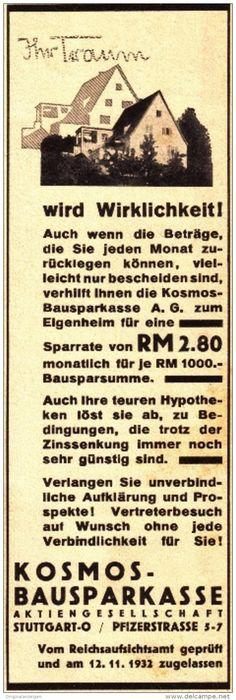 Original-Werbung/ Anzeige 1933 - KOSMOS BAUSPARKASSE - ca. 65 x 200 mm