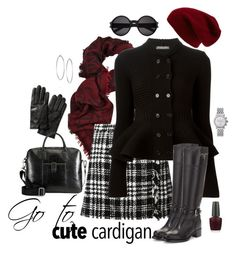 """""""My Go To Cardigan"""" by style-inspiration-and-design ❤ liked on Polyvore featuring Sole Society, Temperley London, Dolce&Gabbana, Alexander McQueen, Prada, Banana Republic, Jennifer Fisher, HUGO, OPI and Michele"""
