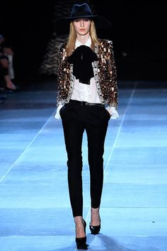 perfectly tailored pants at Saint-Laurent