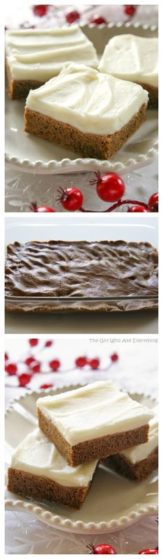 Gingerbread Cookie Bars These Gingerbread Cookie Bars are incredibly soft and chewy. They are great by themselves with a little dusting of powdered sugar or with cream cheese frosting on top. the-girl-who-ate- Cookie Desserts, Just Desserts, Cookie Recipes, Delicious Desserts, Dessert Recipes, Cupcakes, Cake Cookies, Cupcake Cakes, Cake Bars