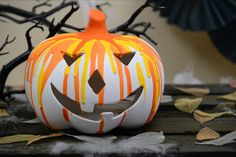 How to Make a Ceramic Drip Pumpkin #halloween #pumpkin #ceramic #drip #autumn #diy