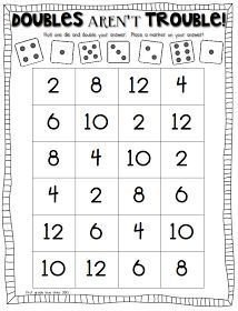double trouble: math game to practice doubles facts - Mathe Ideen 2020 Math Doubles, Doubles Facts, Doubles Song, Math Classroom, Kindergarten Math, Teaching Math, Preschool, Math Resources, Math Activities