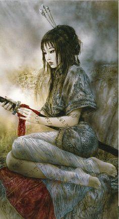 Luna y Sombra: Author Luis Royo Fantasy Women, Dark Fantasy Art, Fantasy Girl, Fantasy Artwork, Dark Art, Geisha, Elfa, Art Asiatique, Poster Art