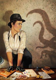H P Lovecraft art - 1920s female investigator plays Call of Cthulhu by Pintureiro