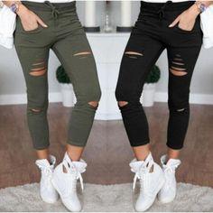 Skinny Jeans Mujer Denim pantalones agujeros rodilla destruida lápiz  pantalones negro pantalones rotos elásticos blanco - venta de productos a  precios bajos ... e8679421feed