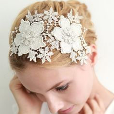Lace wedding headband, bridal headband, wedding headpiece, wedding hair, bridal lace headband - style This is probably too big but I like the basic idea. Wedding Headband, Wedding Hats, Hair Jewelry, Bridal Jewelry, Lace Headbands, Bridal Headbands, Headband Styles, Lace Hair, Hair Ornaments