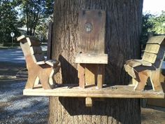 Items similar to Squirrel picnic table // squirrel feeder // bird feeder // reclaimed lumber // rustic feeder // shabby chic // bird picnic table on Etsy Squirrel Feeder, Bird Feeders, Reclaimed Lumber, Picnic Table, Bird Houses, Firewood, Shabby Chic, Backyard, Rustic