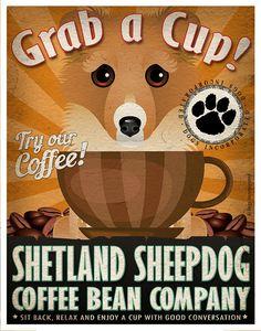 Shetland Sheepdog Coffee Bean Company Original by DogsIncorporated, $29.00