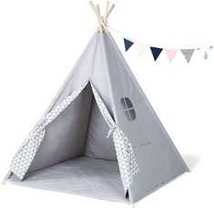 GIGALUMI Kids Teepee Tent Children Play Tent Tipi Indian Style Playhouse with Banner, Floor Mat, Window for Indoor and Outdoor Wave: Amazon.co.uk: Toys & Games