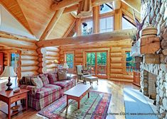Custom Western Red Cedar Log Cabin Home Living Room