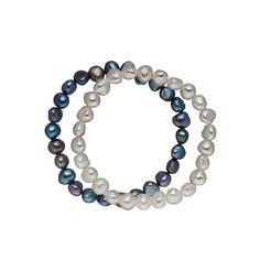 Brațară dublă Valero Pearls cu perle de cultură baroc gri argintiu și negru indigo