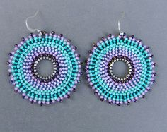Turquoise and Purple Seed Bead Earrings  bohemian by Anabel27shop,