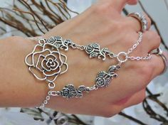 Rose Hand Jewelry Bracelet Ring Slave by TheMysticalOasisGlow, $20.00
