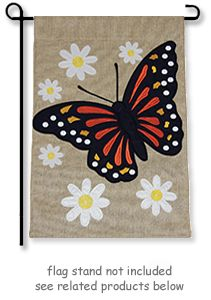 """Monarch Butterfly and Daisies Burlap Garden Flag from Toland Home Garden Burlap flag collection. Garden flag size is 12.5""""W. x 18""""H, design visible from both sides.  @justforfunflags"""