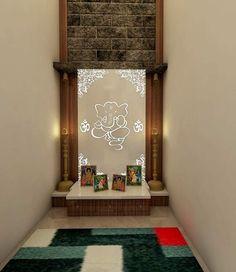 Best Pooja Room Design in India - GharPedia Living Room Partition Design, Pooja Room Door Design, Room Partition Designs, Home Room Design, Cupboard Door Design, Architect Design House, Temple Design For Home, Home Decor Hooks, Mandir Design