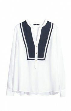 navy + white blouse