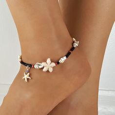 Items similar to Woman Tropical Charm Ankle Bracelet Beach wedding Pool Summertime women anklet Starfish black white charming fabulous look from head to toe on Etsy Seashell Jewelry, Beach Jewelry, Beach Bracelets, Star Necklace, Heart Earrings, Ankle Jewelry, Feet Jewelry, Beach Anklets, Anklet Bracelet