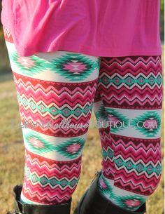 Pink and Jade Aztec Leggings