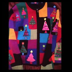 """☃TACKY CHRISTMAS SWEATER☃ Be the life of the party is this """"lovely"""" tacky sweater!!!! Very colorful with some bling, no flaws, true vintage Christmas top. Has the padded shoulder pads!! Purchased from Macy's in the early 90's when tacky was in Perfect for the ugly sweater parties!!!!! Karen Scott Sweaters Cardigans"""