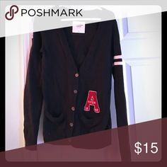 Abercrombie cardigan Navy blue with a red A on the left pocket Abercrombie & Fitch Sweaters Cardigans