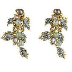 Mauritius Gold & Rhodium Lavender Cascading Clip Earring::Earrings::Jewelry By Category::Alexis Bittar