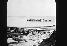 A photograph archaeologist Petrie took of his view from the tomb he lived in in Giza 1881